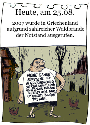Cartoon: 25.August (medium) by chronicartoons tagged waldbrand,feuer,griechenland