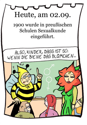 Cartoon: 2. September (medium) by chronicartoons tagged sexualkunde,aufklärung,blume,biene,schule,cartoon