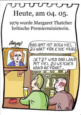 Cartoon: 4. Mai (medium) by chronicartoons tagged thatcher,premierminister,england,pub,cartoon