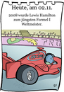Cartoon: 2. November (small) by chronicartoons tagged formel1 lewis hamilton rennwagen bolide cartoon