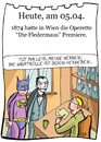 Cartoon: 5. April (small) by chronicartoons tagged fledermaus,operette,strauss,batman,dracula,vampir,theater,intendant,cartoon