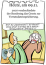 Cartoon: 9. November (small) by chronicartoons tagged vorratsdaten,abhören,telefon,cartoon