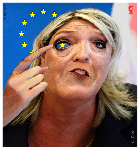 Cartoon: Le Pen (medium) by zenundsenf tagged zenundsenf,zensenf,zenf,vorsitzende,cartoon,augsburg,walter,andi,zweckentfremdet,parlamentsassistent,front,national,pen,le,marine,karikatur,fn,union,europäische,eu,composing
