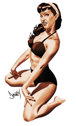Cartoon: Betty Page (medium) by Darrell tagged pinup,model