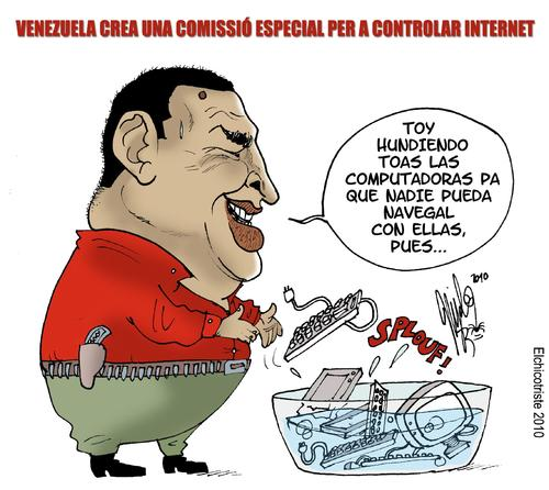 Cartoon: INTERNET COMMISSION (medium) by ELCHICOTRISTE tagged hugo,chavez,computer