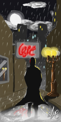 Cartoon: Night time Study (medium) by Abe tagged rain,dark,fog,silhouette,walking,light,pole,city,skyline,windows,cafe,reflections,moon,clouds,noir,neo