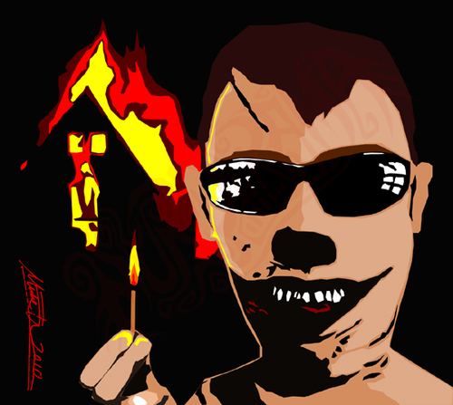 Cartoon: Mr F (medium) by murderama tagged mr,burn,arsonist,death,vector,digital