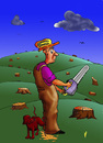 Cartoon: Woodman (small) by janjicveselin tagged woodman,destruction,of,forests,the,dog,piss,on,erosion,technology,ecology