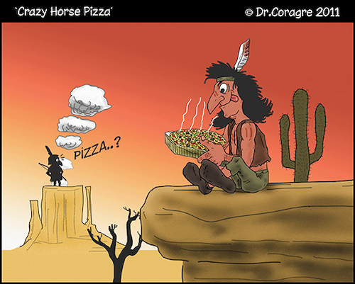 Cartoon: Crazy Horse Pizza (medium) by DrCoragre tagged humor,tira,vinyeta,cartoon,nature,illustration,digital,media,mixed,comic,caricature,drawing,pizzapitch
