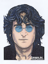 Cartoon: John Lennon (small) by DrCoragre tagged lennon,drawing,pop,art,illustration,mixed,media,rock,portrait