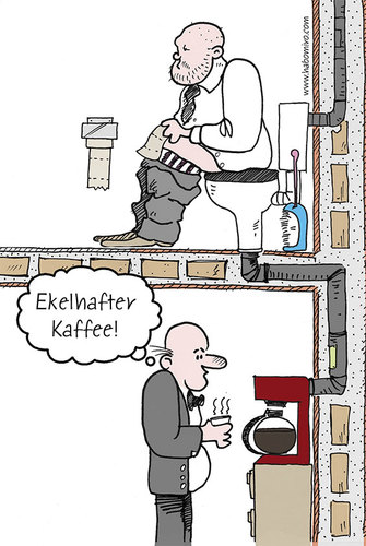 Cartoon: Ekelhafter Kaffee (medium) by Habomiro tagged habomiro,kaffee,klo,toilette,wc,00,kaffeemaschine,büro