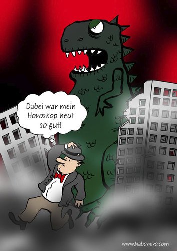Cartoon: Horoskop (medium) by Habomiro tagged habomiro,horoskop,godzilla