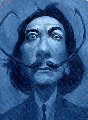 Cartoon: Mikey_Dali09_01 (medium) by mikeyzart tagged caricature,salvador,dali,acrylic,painting,humorous
