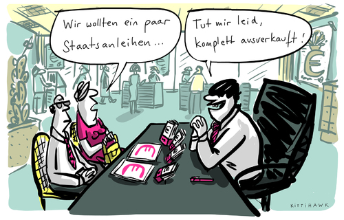 Cartoon: Staatsanleihen (medium) by kittihawk tagged kittihawk,2015,ezb,staatsanleihen,kauf,kittihawk,2015,ezb,staatsanleihen,kauf
