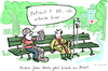 Cartoon: Krank zur Arbeit (small) by kittihawk tagged kittihawk,2015,krank,zur,arbeit,studie,bertelsmann,stiftung,krankenhaus,verband,gips,patient,arbeite,bank,park,pause,kopfverband,infusion