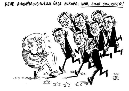 Cartoon: Jean Claude Juncker EU Präsiden (medium) by Schwarwel tagged jean,claude,juncker,nominierung,eu,europäische,union,kommissionspräsident,karikatur,schwarwel,anonymous,angela,merkel,jean,claude,juncker,nominierung,eu,europäische,union,kommissionspräsident,karikatur,schwarwel,anonymous,angela,merkel