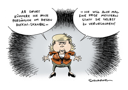 Cartoon: Merkel Dioxin-Skandal Chefsache (medium) by Schwarwel tagged merkel