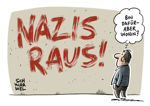 Cartoon: NazisRaus bei Twitter (medium) by Schwarwel tagged nazis,raus,nazi,neonazi,neonazis,twitter,shitstorm,solidarität,journalistin,tweet,tweets,profil,account,social,media,soziale,medien,hass,hetze,hate,speech,internet,www,world,wide,web,reporterin,morddrohung,vergewaltigung,nicole,diekmann,demokratie,nationalsozialisten,rechtsradikal,rechtsextrem,rechtsextremismus,faschismus,faschist,grundgesetz,hetzkampagne,vergewaltigungsaufrufe,hashtag,afd,alternative,für,deutschland,von,storch,weidel,gauland,meuthen,höcke,cartoon,karikatur,schwarwel,nazis,raus,nazi,neonazi,neonazis,twitter,shitstorm,solidarität,journalistin,tweet,tweets,profil,account,social,media,soziale,medien,hass,hetze,hate,speech,internet,www,world,wide,web,reporterin,morddrohung,vergewaltigung,nicole,diekmann,demokratie,nationalsozialisten,rechtsradikal,rechtsextrem,rechtsextremismus,faschismus,faschist,grundgesetz,hetzkampagne,vergewaltigungsaufrufe,hashtag,afd,alternative,für,deutschland,von,storch,weidel,gauland,meuthen,höcke,cartoon,karikatur,schwarwel