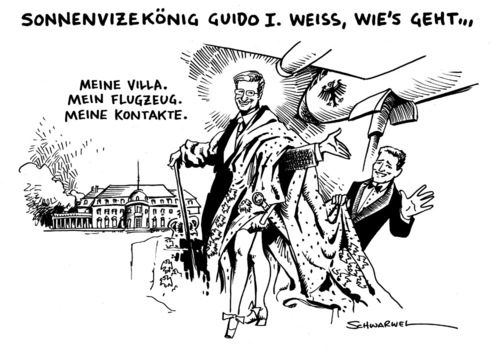 Cartoon: Sonnenvizekönig Guido I. (medium) by Schwarwel tagged sonnenkönig,guido,westerwelle,villa,flugzeug,kontakte