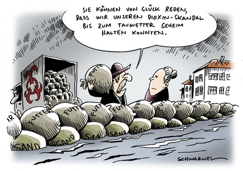 Cartoon: Überschwemmung Dioxin-Skandal (medium) by Schwarwel tagged