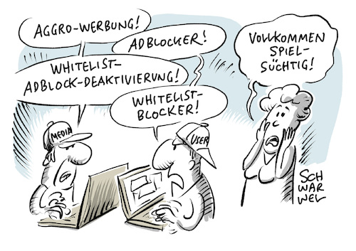 Cartoon: Werbeblocker sind zulässig (medium) by Schwarwel tagged werbeblocker,werbung,werbeanzeige,anzeige,onlinewerbung,adblocker,online,internet,news,social,media,marketing,promotion,artikel,journalismus,axel,springer,klage,bgh,urteil,bundesgerichtshof,adblock,plus,unerwünschte,werbesperre,medien,medienunternehmen,www,world,wide,web,whitelist,blacklist,blacklisting,whitelisting,presse,pressefreiheit,cartoon,karikatur,schwarwel,werbeblocker,werbung,werbeanzeige,anzeige,onlinewerbung,adblocker,online,internet,news,social,media,marketing,promotion,artikel,journalismus,axel,springer,klage,bgh,urteil,bundesgerichtshof,adblock,plus,unerwünschte,werbesperre,medien,medienunternehmen,www,world,wide,web,whitelist,blacklist,blacklisting,whitelisting,presse,pressefreiheit,cartoon,karikatur,schwarwel