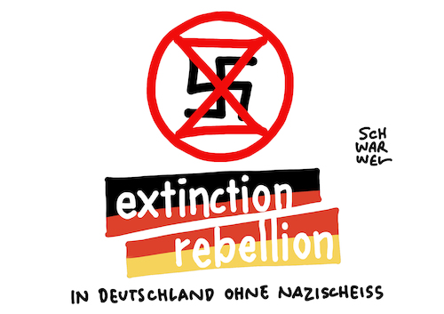 Cartoon: XR Relativierung Holocaust (medium) by Schwarwel tagged extinction,rebellion,relativierung,holocaust,roger,hallem,antisemitismus,hakenkreuz,sieh,geil,heil,hitler,judenverfolgung,judenhass,holocaustleugner,antisemit,rechtspopulismus,rechtspopulisten,nazi,nazis,neonazis,fridaysforfuture,klimastreik,klimaaktivisten,aktivist,demo,klimawandel,klimagegner,klimapolitik,genozid,klimaschutzbewegung,sekte,umweltschutz,umweltbewegung,cartoon,karikatur,schwarwel,extinction,rebellion,relativierung,holocaust,roger,hallem,antisemitismus,hakenkreuz,sieh,geil,heil,hitler,judenverfolgung,judenhass,holocaustleugner,antisemit,rechtspopulismus,rechtspopulisten,nazi,nazis,neonazis,fridaysforfuture,klimastreik,klimaaktivisten,aktivist,demo,klimawandel,klimagegner,klimapolitik,genozid,klimaschutzbewegung,sekte,umweltschutz,umweltbewegung,cartoon,karikatur,schwarwel