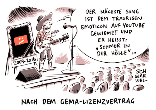 Cartoon: YouTube GEMA Lizenzvertrag (medium) by Schwarwel tagged youtube,gema,einigung,streit,recht,rechte,musik,musikvideos,google,lizenz,lizenzvertrag,videoplattform,video,plattform,karikatur,schwarwel,youtube,gema,einigung,streit,recht,rechte,musik,musikvideos,google,lizenz,lizenzvertrag,videoplattform,video,plattform,karikatur,schwarwel