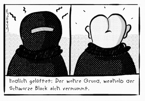 Cartoon: Schwarzer Block (medium) by Josef Schewe tagged schwarzer,block,black,bloc,vermummte,demo,g20,hamburg,arschlöcher,terror,randale,chaoten,schwarzer,block,black,bloc,vermummte,demo,g20,hamburg,arschlöcher,terror,randale,chaoten