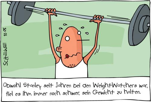Cartoon: weightwatcher (medium) by Josef Schewe tagged sports,man,mann,gewichtheben,gewicht,halten,schwer,,weight watchers,gewicht,übergewicht,diät,ernährung,fitness,krafttraining,training,fitnessstudio,hanteln,dick,dünn,weight,watchers