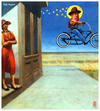 Cartoon: holy hopper (small) by edda von sinnen tagged cartoon,composing,edda,von,sinnen,edward,hopper,great,dead,artists,on,bicycles,karikatur,painter,zenf,zensenf,zenundsenf