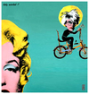 Cartoon: holy warhol (small) by edda von sinnen tagged great dead artists on bicycles andy warhol marilyn monroe pop art homage edda von sinnen illustration caricature zenundsenf zensenf zenf andi walter composing