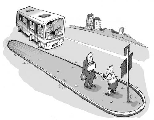 Cartoon: bus stop training (medium) by tinotoons tagged bus,box,
