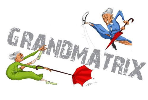 Cartoon: grandmatrix (medium) by tinotoons tagged old,matrix,fight,grandmother,umbrella