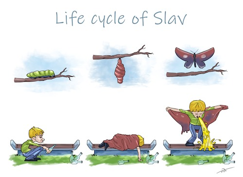 Cartoon: Life cycle of a Slav (medium) by tinotoons tagged slav,alcohol,butterfly,park,bottle,drunk
