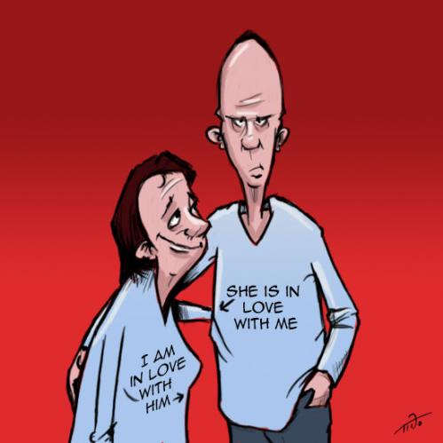 Cartoon: T shirts for lovers (medium) by tinotoons tagged love,