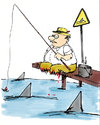 Cartoon: gone fishing (small) by bob tagged angeln,angler,fisch,hai,bob