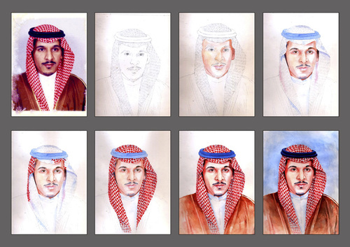 Cartoon: Portrait stages (medium) by Abdul Salim tagged portrait,stages,watercolor,art,saudi,arabia