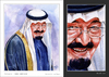 Cartoon: King Abdulla - Portrait (small) by Abdul Salim tagged portrait stages watercolor king abdulla art saudi arabia