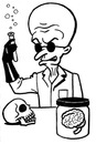Cartoon: toon 23 (small) by kernunnos tagged mad,scientist,with,flask,and,brain,in,jar,skull,how,cliche