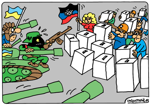 Cartoon: Referendum in Donetsk (medium) by Igor Kolgarev tagged ukraine,kiev,donetsk,donbass,nazi,referendum