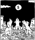 Cartoon: Howling (small) by Igor Kolgarev tagged economic crisis dollars moon finance business