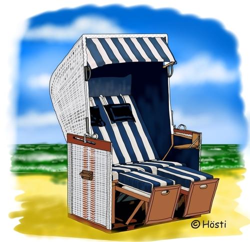 Strandkorb comic  holidays By Hösti | Nature Cartoon | TOONPOOL