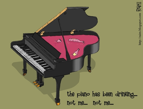 Cartoon: the piano (medium) by raim tagged music,piano,drinking,raim,cartoon