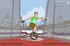 Cartoon: Discus throw with monocycle (small) by raim tagged discus throw monocycle games olympics