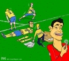 Cartoon: Portugal vs Sweden (small) by raim tagged portugal,sweden,ronaldo,cr7,ikea,ibrahimovic