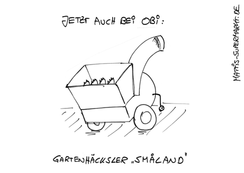 Cartoon: Gartenhäcksler Smaland (medium) by Matti tagged mattis,supermarkt,matti,kinder,gartenhäcksler,ikea,smaland,bälle,kinderparadies,obi,garten,holz,hacken