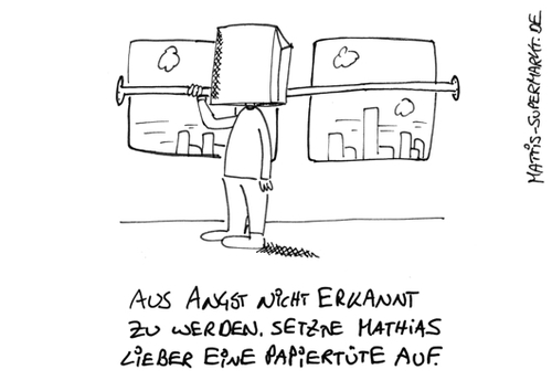 Cartoon: Unprominent (medium) by Matti tagged matti,autogramm,erkennen,bahn,paparazzi,promi,papiertüte,mattis,supermarkt,anonym,ruhe,fan,star