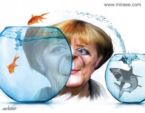 Cartoon: Angela Merkel and Refugees (medium) by Ali Miraee tagged angela,merkel,refugee,seyed,ali,miraee,miraie,mirayi,caricature,editorial,cartoon,portrait