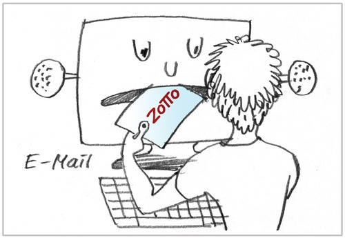 Cartoon: E-Mail (medium) by Zotto tagged weitergeben,anhänge,briefe