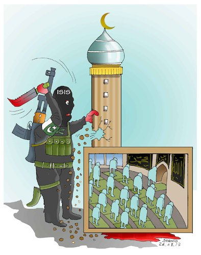Cartoon: ISIL terrorists completing task (medium) by Shahid Atiq tagged afghanistan,balkh,helmand,kabul,london,nangarhar,and,ghor,attack